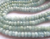 3x5mm full strand natural aquamarine-beryl gemstone rondelle abacus faceted jewelry beads