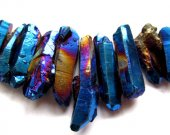 3strands 20-45mm 16inch/L Titanium quartz crystal freeform spikes points drilled briolettes dark blue  jewelry chains bead