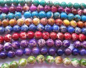 wholesale 10mm 8strands 16inch, round ball green snakeskin multicolor mixed sea sediment veins imperial jasper jewelry beads