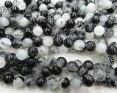 high quality LOT genuine black rutilated quartz round ball  gemstone bead 6mm --5strands 16inch strand