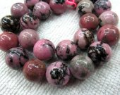 bulk high quality  genuine rhodonite  gemstone 12mm 5strands 16inch strand ,high quality round ball pink black jewelry beads