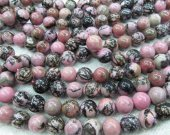 wholesale genuine rhodonite  gemstone 10mm 5strands 16inch strand ,high quality round ball pink black jewelry beads