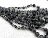 high quality  batch necklace genuine black rutilated quartz round ball gemstone bead 6-14mm  --5strands 16inch strand