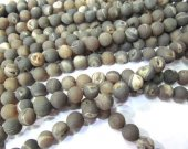 wholesale bulk  agate gemstone  round ball crystal rock matt crab grey mixed jewelry spacer 12mm --5strands 16inch