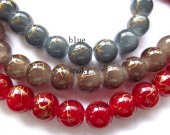50%off -- 10mm 2strands jade gergous round ball wave gold sapphire blue smoky red mixed beads