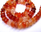 high quality genuine carnelian gemstone rondelle abacus faceted jewelry beads 4x6mm --2strands 16inch/L