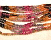AA+ 4mm full strand genuine rainbow tourmarine gemstone  round all watermelon jewelry beads DIY