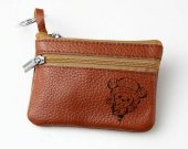 One Piece Chopper Leather Zippered Coin Bag Key Pouch