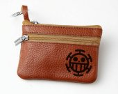 One Piece Trafalgar Law Heart Pirates Leather Zippered Coin Bag Key Pouch