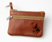 Digimon Agumon Leather Zippered Coin Bag Key Pouch