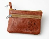 POKEMON CHARMANDER Leather Zippered Coin Bag Key Pouch