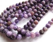wholesale 6 8 10mm 16inch natural  Charoite Stone beads round ball purple gemstone jewelry beads