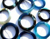 bulk genuine agate gemstone circle roundel donut sapphire  blue green mixed jewelry beads 40mm 100pcs