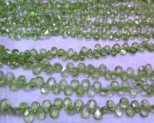 AA grade genuine rock crysal peridot quartz  teadrop drop flat  faceted jewelry beads 3x5mm 16inch