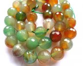 wholesale fire agate gemstone  round ball faceted gree oranger mixed jewelry  beads 14mm--2strands 16inch/per strand