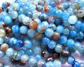 wholesale  fire agate gemstone  round ball faceted royal  blue cherry mixed jewelry beads 8mm --5strands