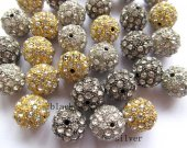 wholesale 14mm 24pcs bling ball tone spacer  round ball silver gold black  with  crystal rhinestone  jewelry beads