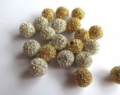12mm 100pcs,high quality  bling ball ,metal & czech rhinestone spacer round siler gold mixed  jewelry beads