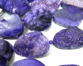 2strands 30-50mm Druzy Agate Nugget Stone purple multicolor jewelry pendant bead