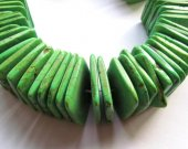 wholesale discount 25mm 60pcs turquoise stone square box slab green olive  loose beads jewelry