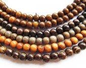 8-9mm 10strands  genuine wood round ball assortment jewelry spacer beads