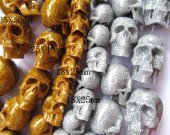fashion 18x25-25x50mm full strand  gergous acrylic resin plastic beads skull skeleton gold sand assortment pendant