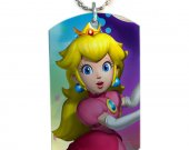 Mario Princess Peach Dog Tag Pendant Necklace