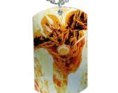 Human Torch Dog Tag Pendant Necklace