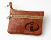 The Incredibles Leather Zippered Coin Bag Key Pouch