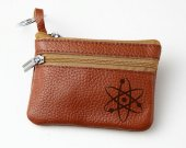 Atom Leather Zippered Coin Bag Key Pouch