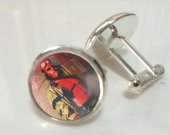 Hellboy Pair Glass Crystal Cufflinks