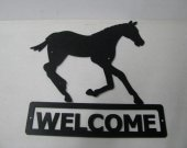 Colt 001 Running Welcome Sign Metal Silhouette