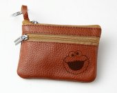 Cookie Monster Leather Zippered Coin Bag Key Pouch