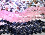 bulk 15mm 5strands  natural stone pink quartz,amazone,suda jewelry beads clove square bead