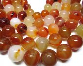 high quality 12-20mm 5strands  gergous natural carnelian  gemstone  round ball  black jet matt crab jewelry beads