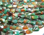 high quality   genuine agate gemstone freeform green red veins assortment jewelry beads focal 18x25mm full strand