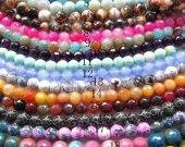 wholesale agate gemstone 6mm 5strands,  round ball faceted carmine pink red blue green mixed jewelry  beads