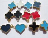 fashion 100pcs 16mm metal duble-sided clove hearts cross assortment  connectors jewelry finding