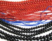 high quality bulk 3-10mm genuine onyx agate gemstone  round ball  rice rondelle red blue black mixed bead--10strands
