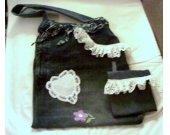 Blue Denim Jeans Tote Bag Purse Handbag With Lace Trim And  Applique Plus Bonus Utility Pouch