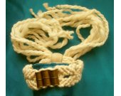 Hand Woven Macrame Bracelet With Brass Beads and Wooden Slide Bead Fastener