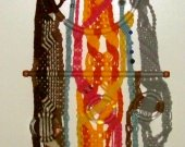 Sunrise At The Shore - Dramatic Multi-Color Yarn Macrame Wall Art Hanging With Clear Acrylic Hoops