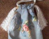 2-sided Floral Print Drawstring Purse Handbag With Inside Pockets