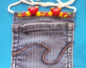 Cute Jeans Pocket Coin Purse Pouch W/ Bead Trim, Carry Cord Recycled Blue Denim