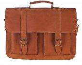 "Genuine Leather 15"" Laptop Mens Briefcase Messenger Bag Handmade Tobacco Color"