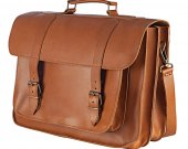 "Genuine Leather 17"" inch Laptop Mens Briefcase Messenger Bag Handmade Tobacco Color"