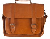 "Genuine Leather 15"" inch Laptop Mens Briefcase Messenger Bag Handmade Tobacco Color"