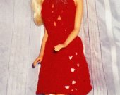 Halter Style Red Crocheted Party Dress For Barbie and Same Size Fashion Dolls