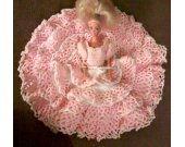 Pink Crocheted Party Dress Gown For Barbie and Same Size Fashion Dolls