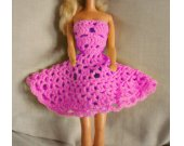 Pink Crocheted Barbie Strapless Party Dress Kit